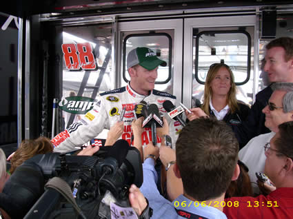 Dale Jr. Interview in front of his hauler